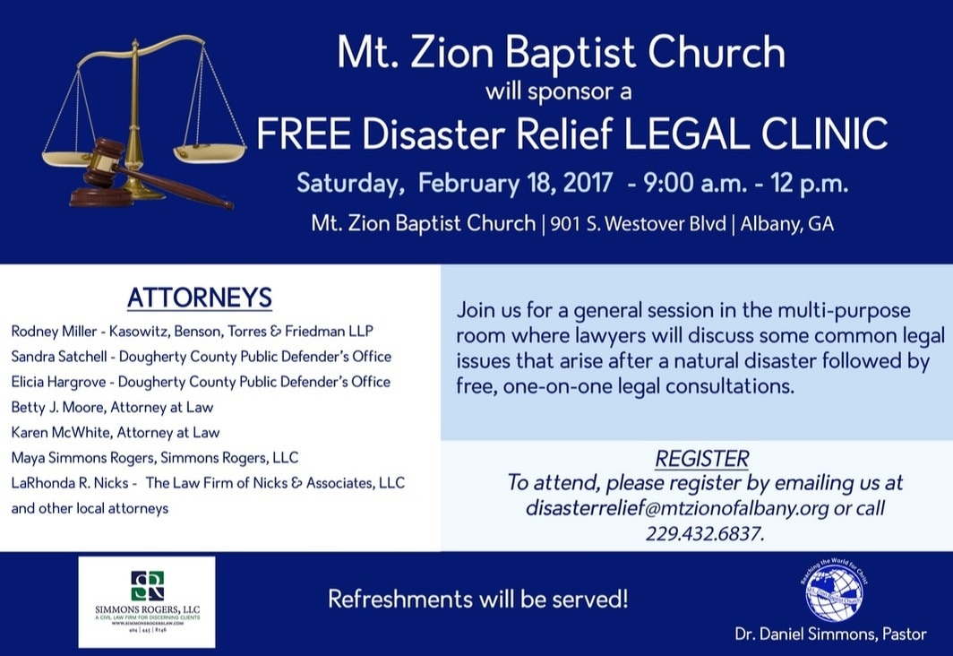Flier for free legal clinic in Albany, GA co-sponsored by Simmons Rogers, LLC and featuring Maya Simmons Rogers